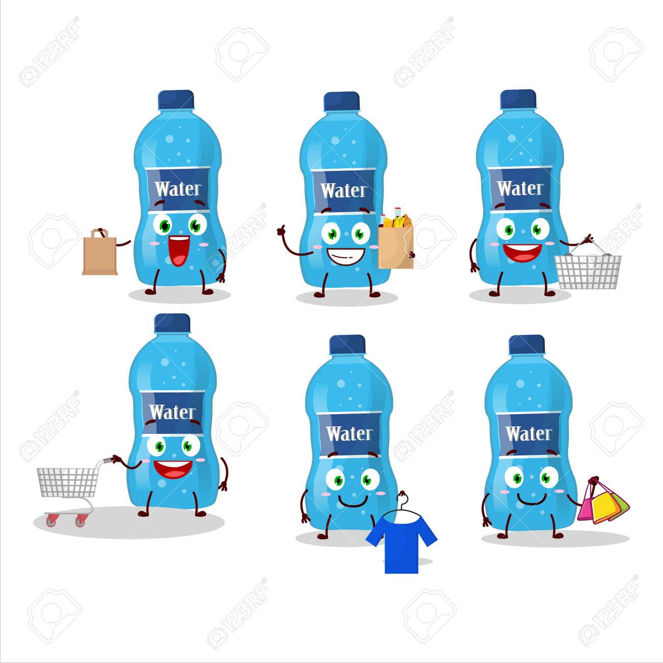 A Rich water bottle mascot design style going shopping - 172515415