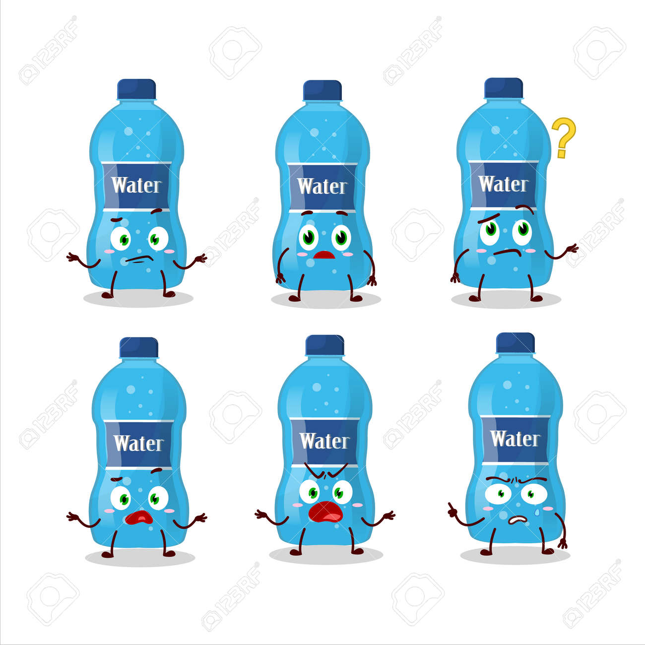 Cartoon character of water bottle with what expression - 172515422