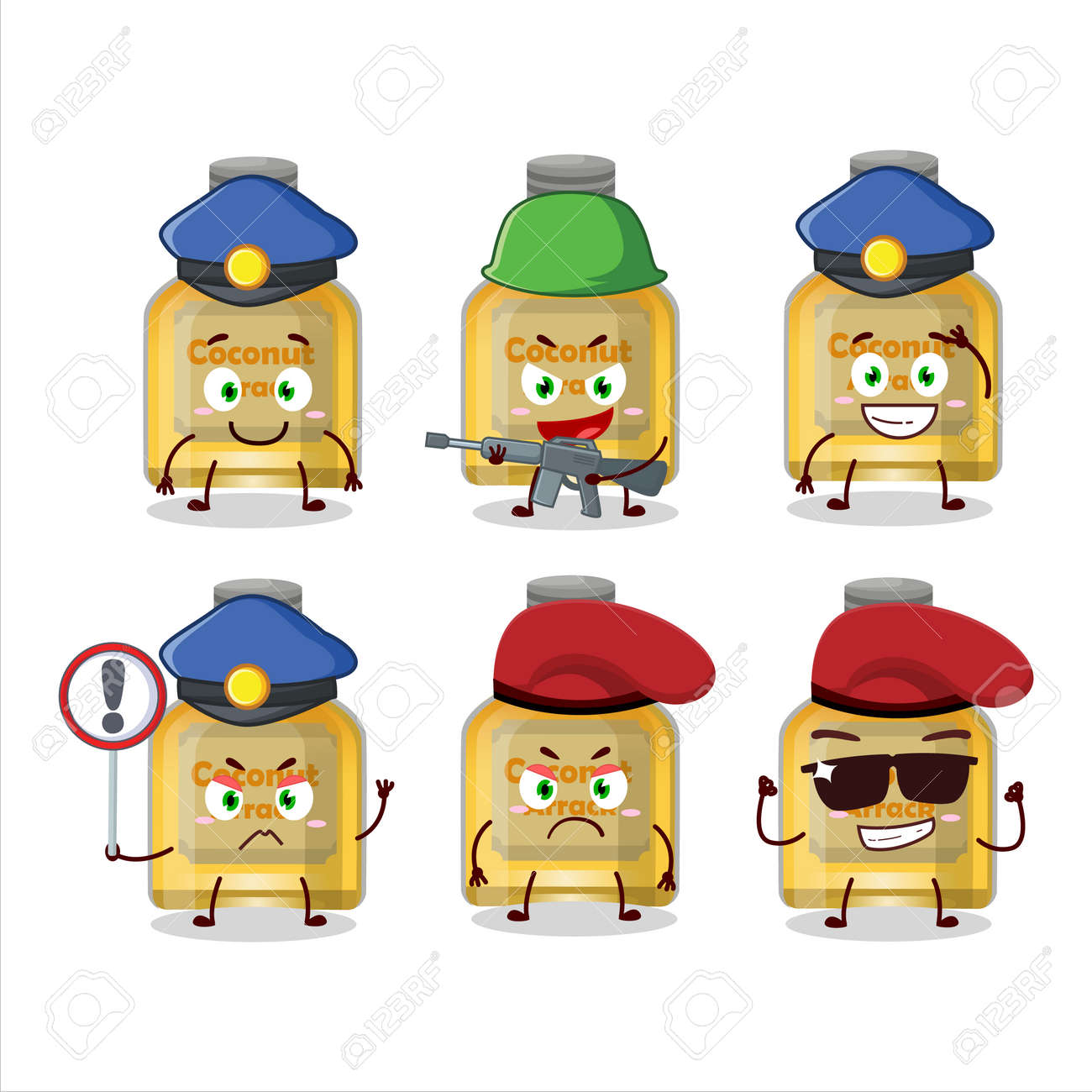 A dedicated Police officer of coconut arrack mascot design style - 173228600