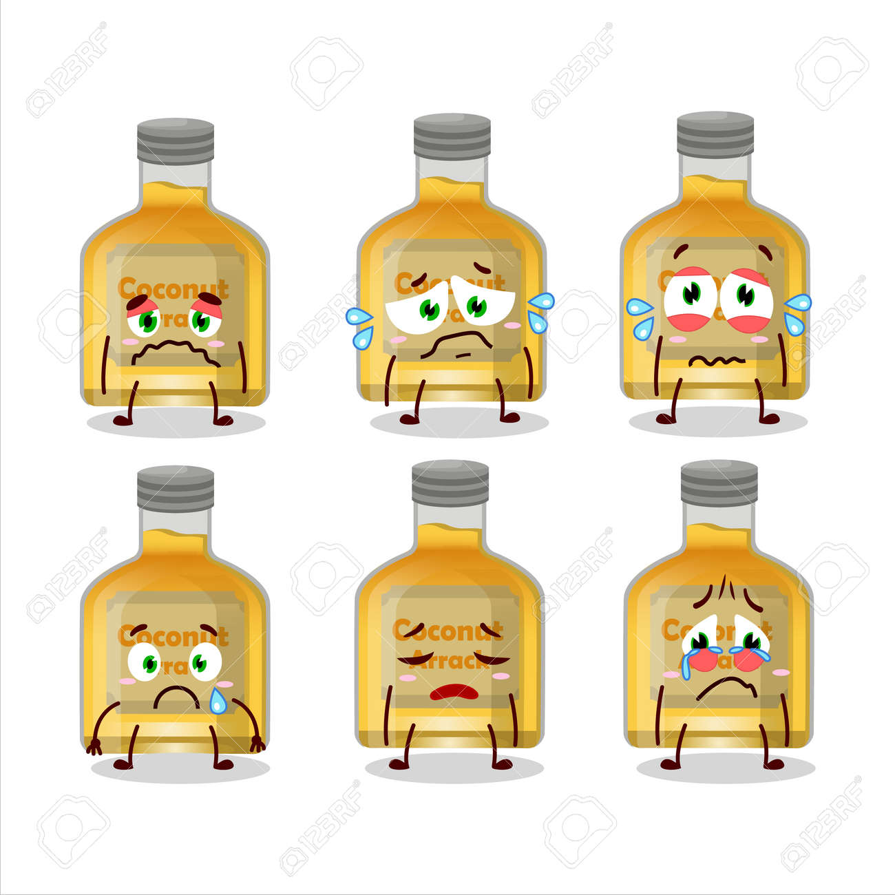 Coconut arrack cartoon character with sad expression - 173228601