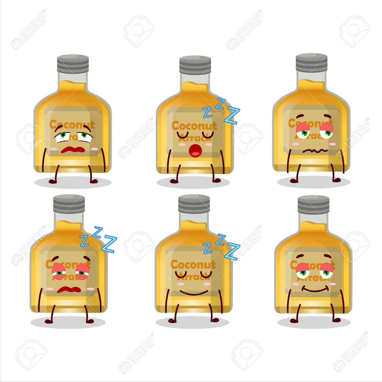 Cartoon character of coconut arrack with sleepy expression. Vector illustration - 173228602