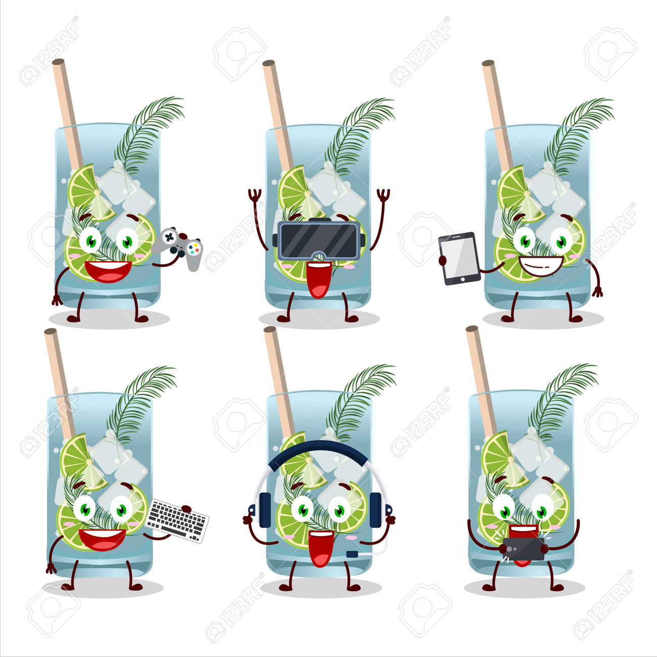 Gin tonic cartoon character are playing games with various cute emoticons - 173228604