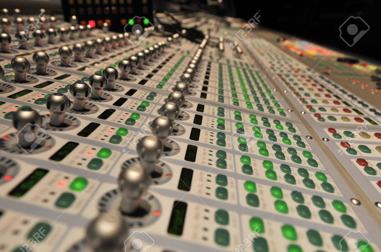 audio post production mixing console with lights on Stock Photo - 6988925