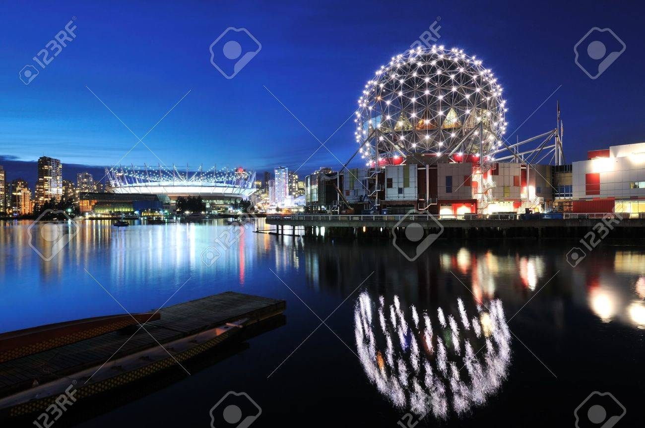 Vancouver Science World and BC Stadium at night Stock Photo - 11048950