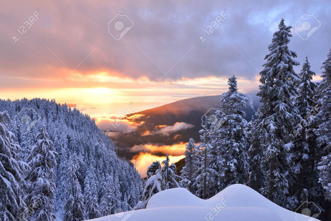 Winter Sunset On Grouse Mountain Vancouver British Columbia Stock