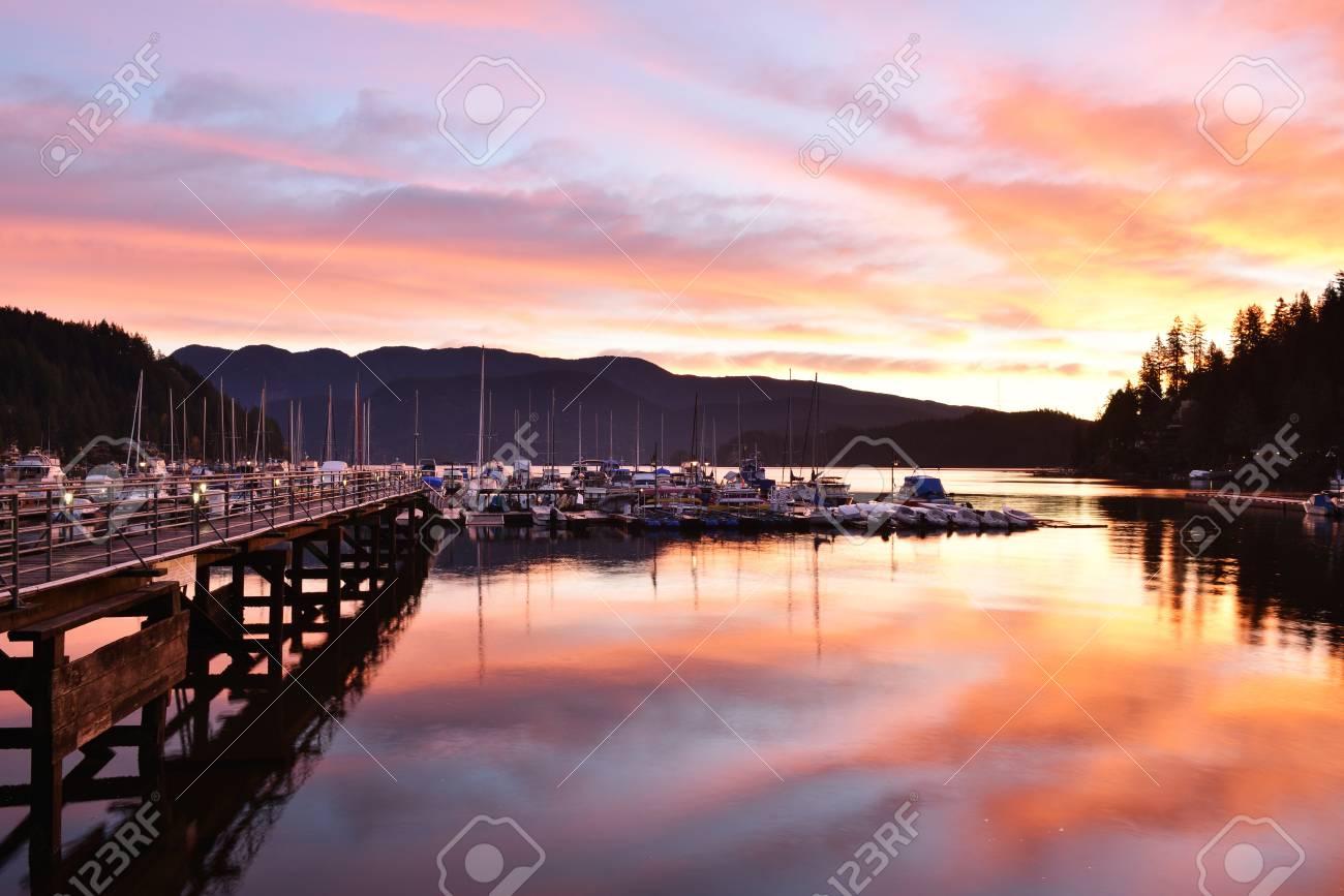 Deep Cove Amazing Sunrise North Vancouver British Columbia Stock Photo