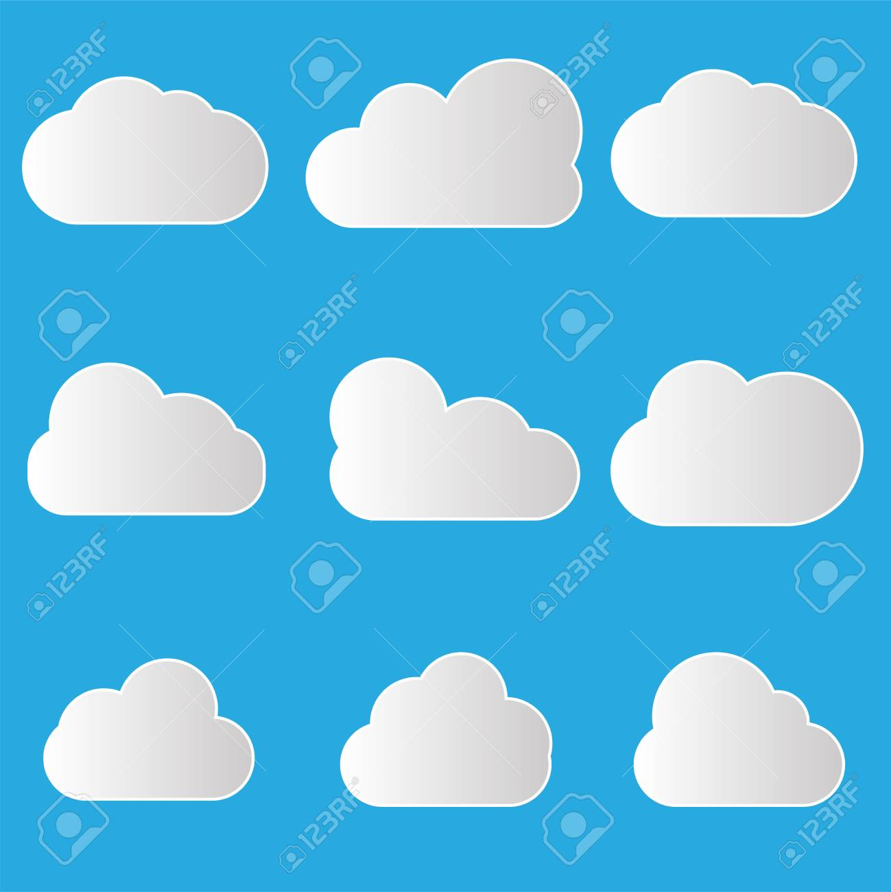 Set Of Cloud Icons In Trendy Flat Style On Blue Background Cloud