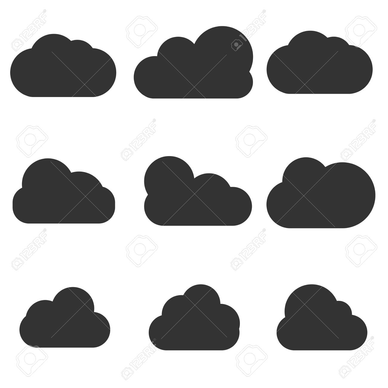 Set Of White Cloud Icons Isolated From White Background Cloud