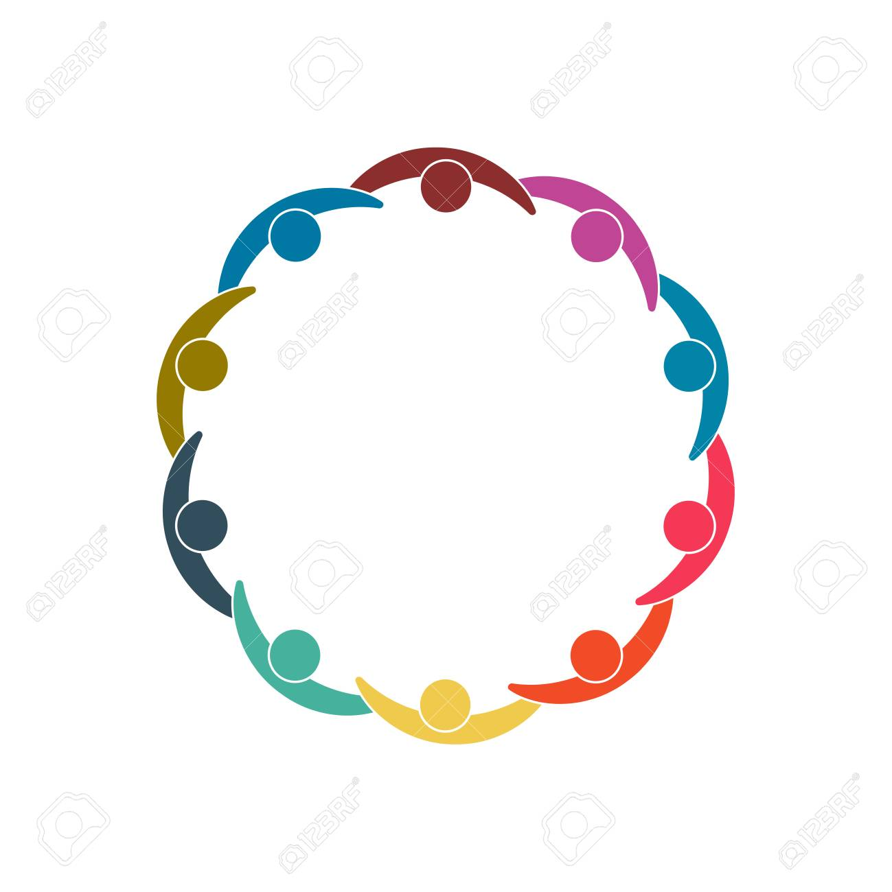 Group of ten persons in circle. holding hands.The summit workers are meeting in the same power room. Vector illustration. - 98353638