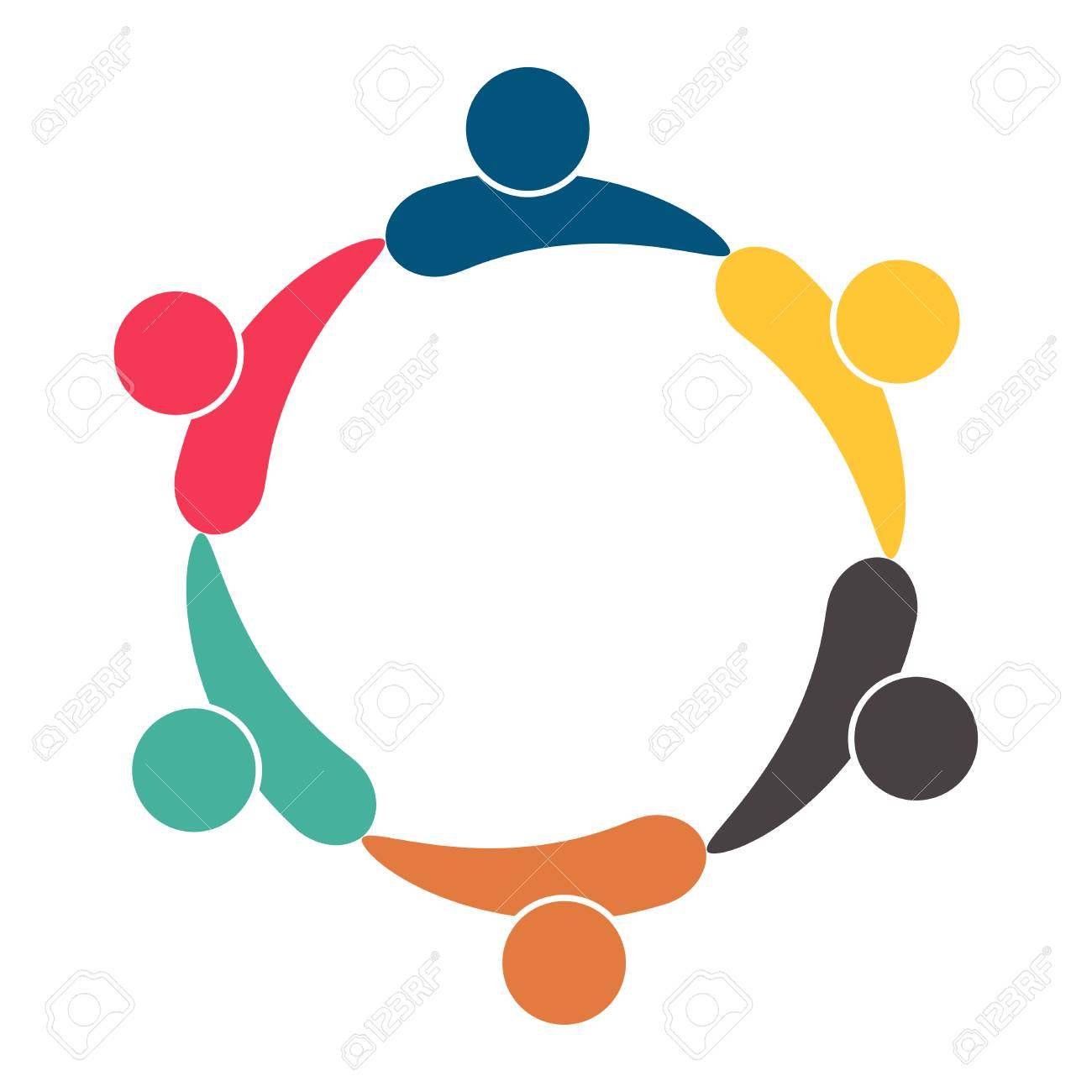 Meeting teamwork room people logo. Group of six persons in circle. Vector illustration - 121359799