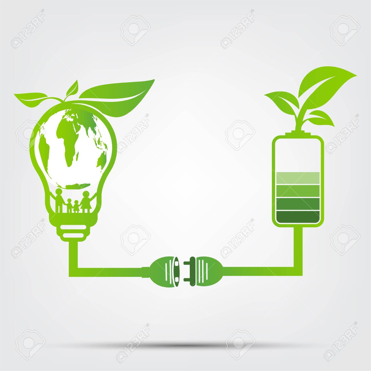family ecology concept in the world is in the energy saving light bulb green.Power plug leaves ecology battery green.vector illustration - 122413092