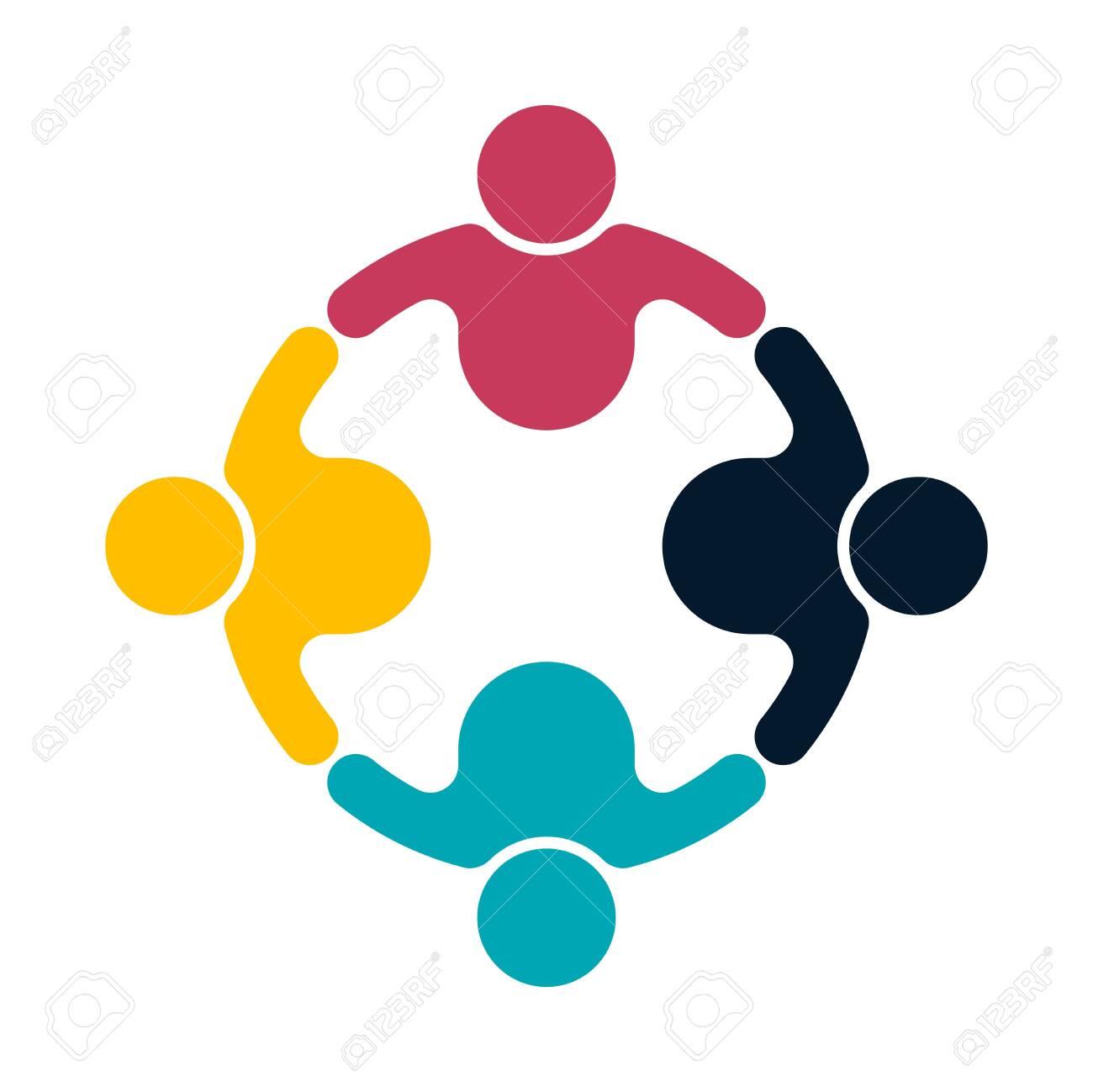 Group people logo handshake in a circle, teamwork icon, vector illustrator - 125105909