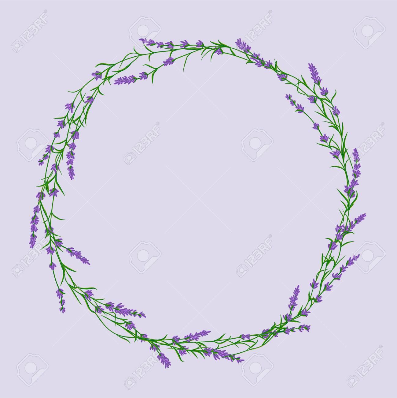 Lavender flower wreath vector ittustration. Postcard layout mockup - 152069629