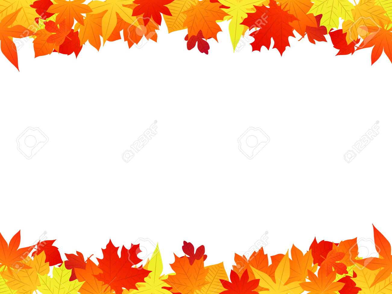 Autumn fallen leaves illustration frame,yellow and orange and red, vector material - 129308437