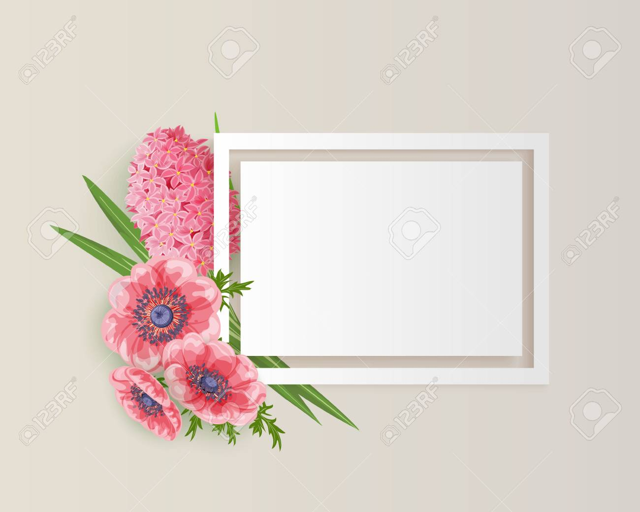 frame with pink rad flowers for congratulations invitations