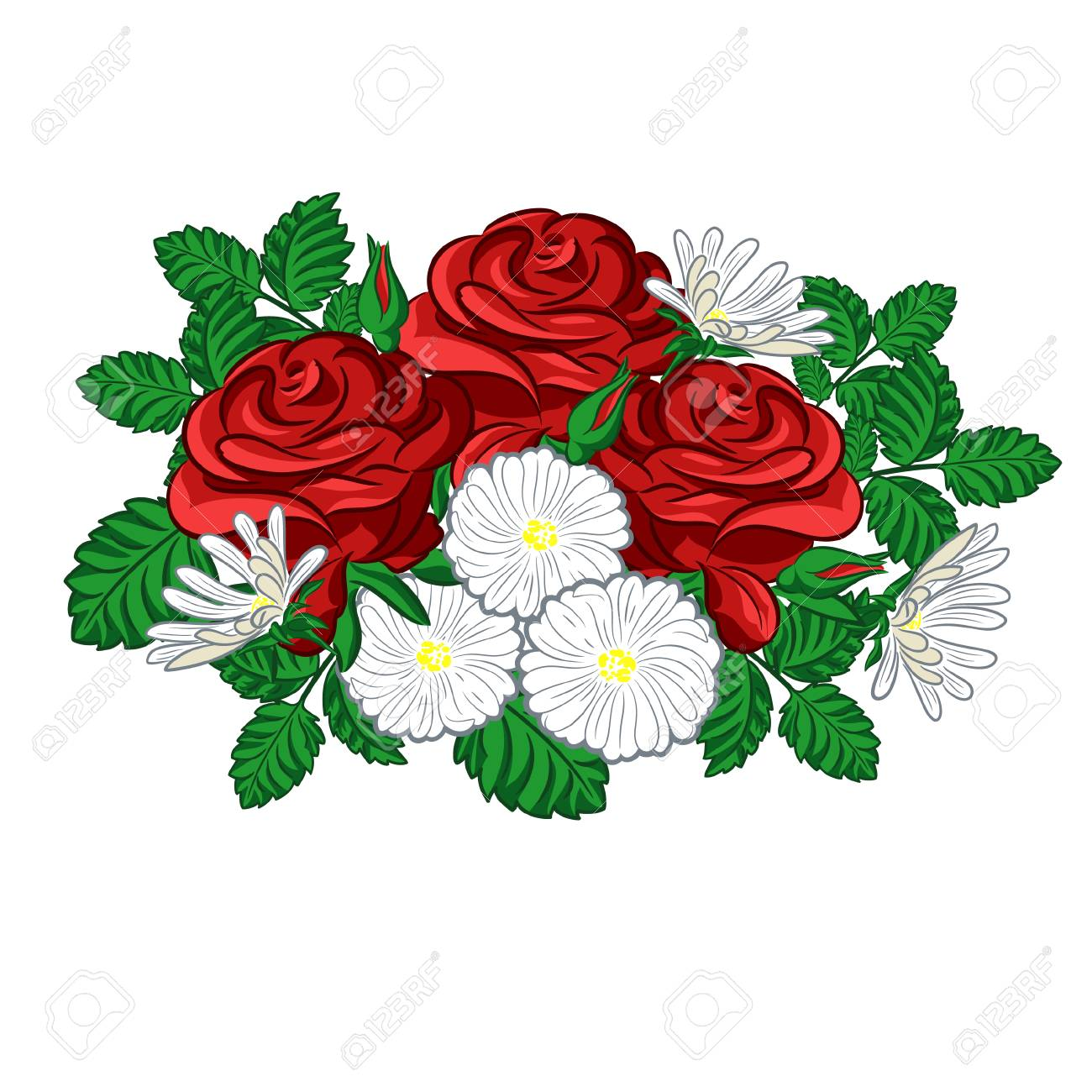 A Compsition With Roses And Daisies For Greeting Card Or Wedding ...