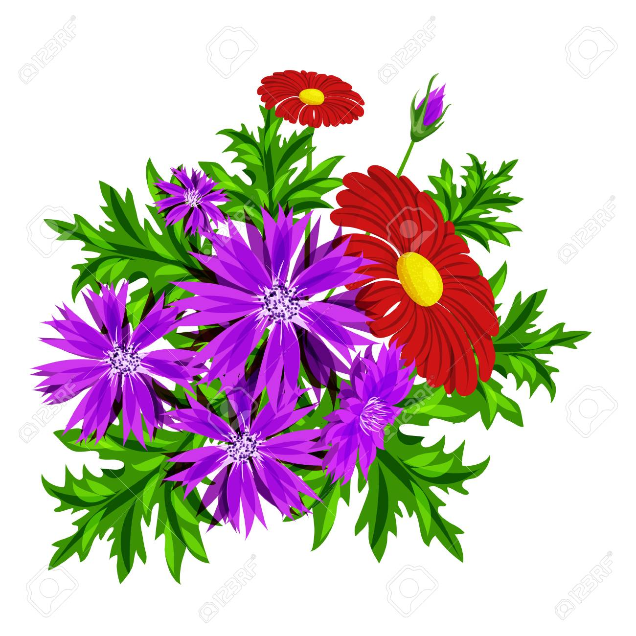 Vector Bouquet Of Flowers For The Design Of Cards Invitations
