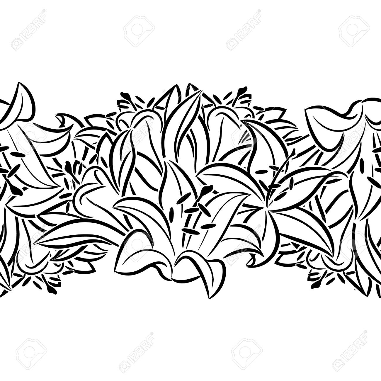 A Seamless Monochrome Pattern Of Flowers For Greeting Cards On