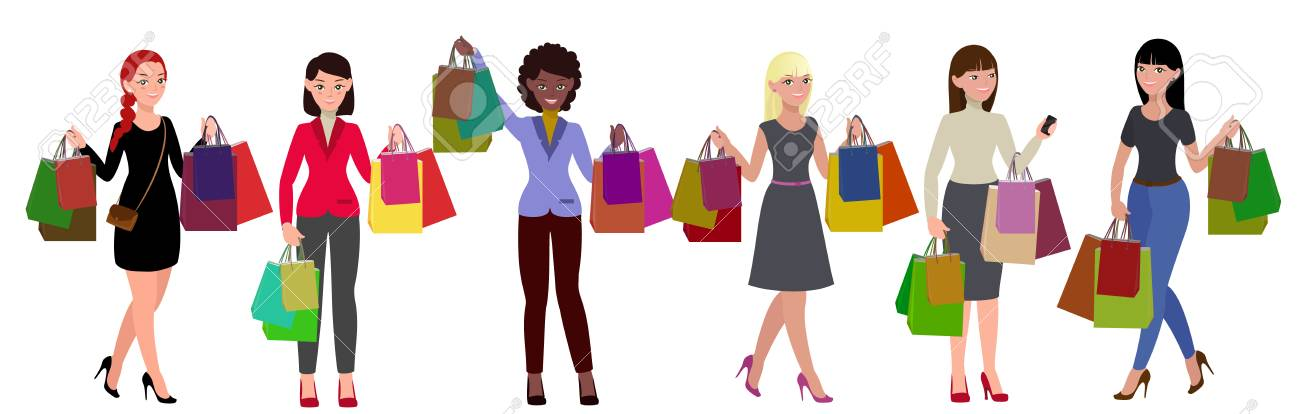 1692e32a5 Shopping women set. Great sales. Girls with paper bags vector illustration  Stock Vector -