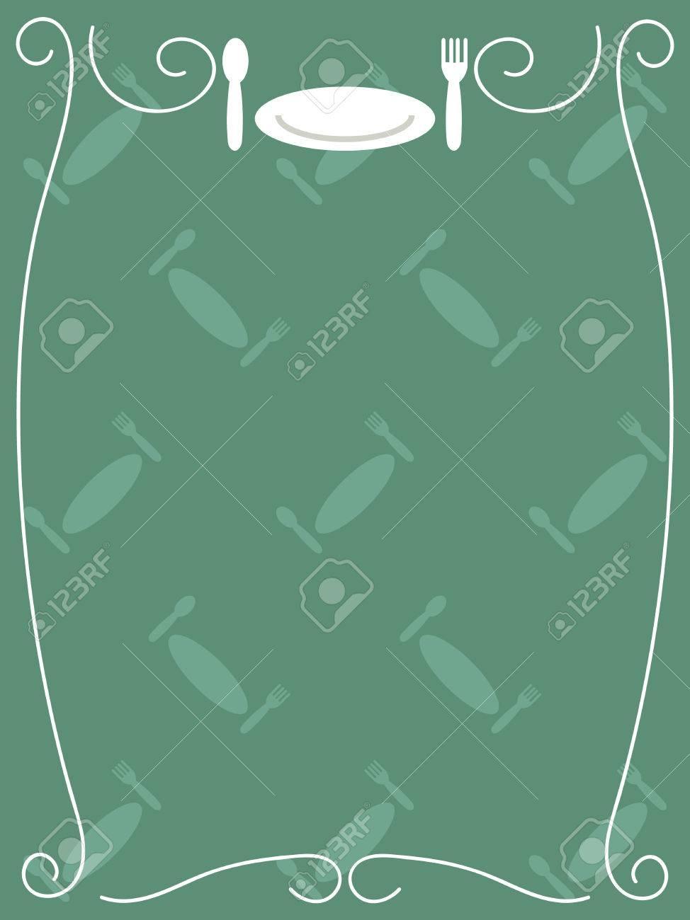 Einfaches Essen Menü-Vorlage Mit Rahmen, Löffel, Gabel Und Teller ...