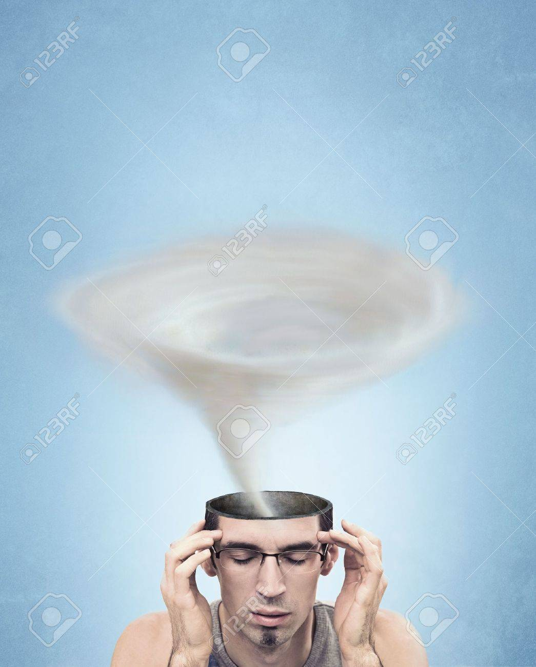 Conceptual picture - tornado head man Stock Photo - 7079390