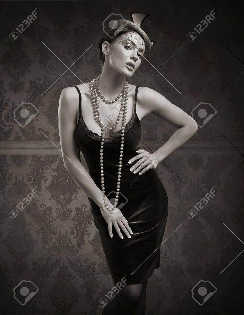 Vogue style vintage portrait in the dim light Stock Photo - 8254863