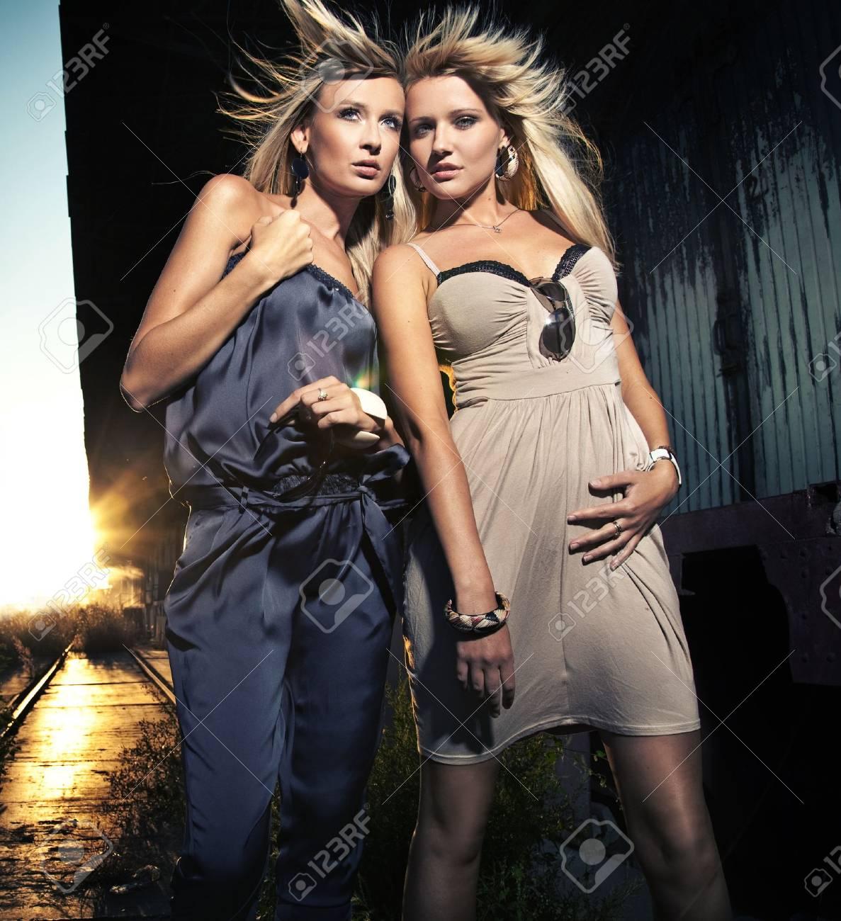 Two elegant blond women Stock Photo - 8560412