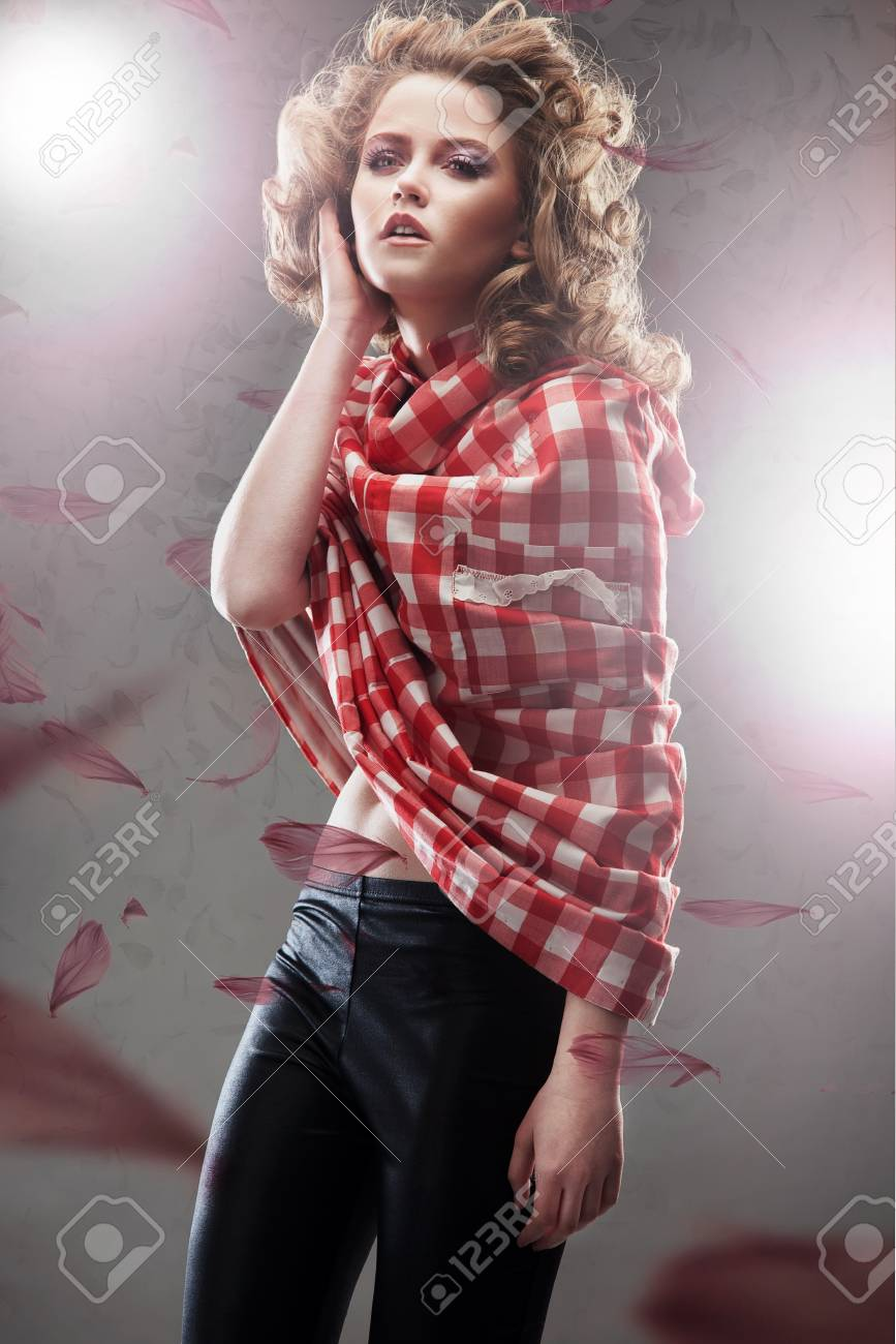Dynamic photo of a pretty young woman Stock Photo - 8764357