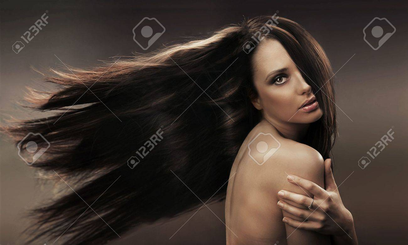 Portrait of a long haired brunette Stock Photo - 9067950