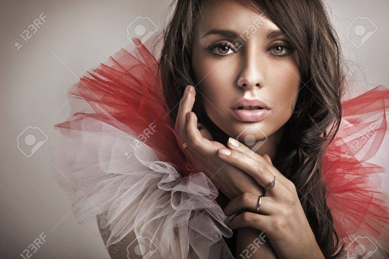 portrait of a cute brunette stock photo, picture and royalty free