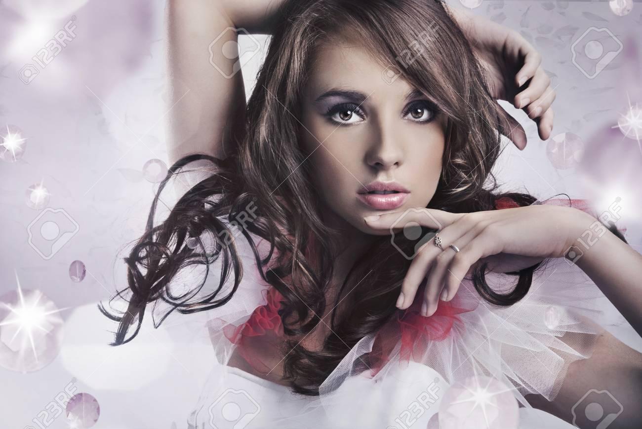 Portrait of a beauty brunette Stock Photo - 9068165