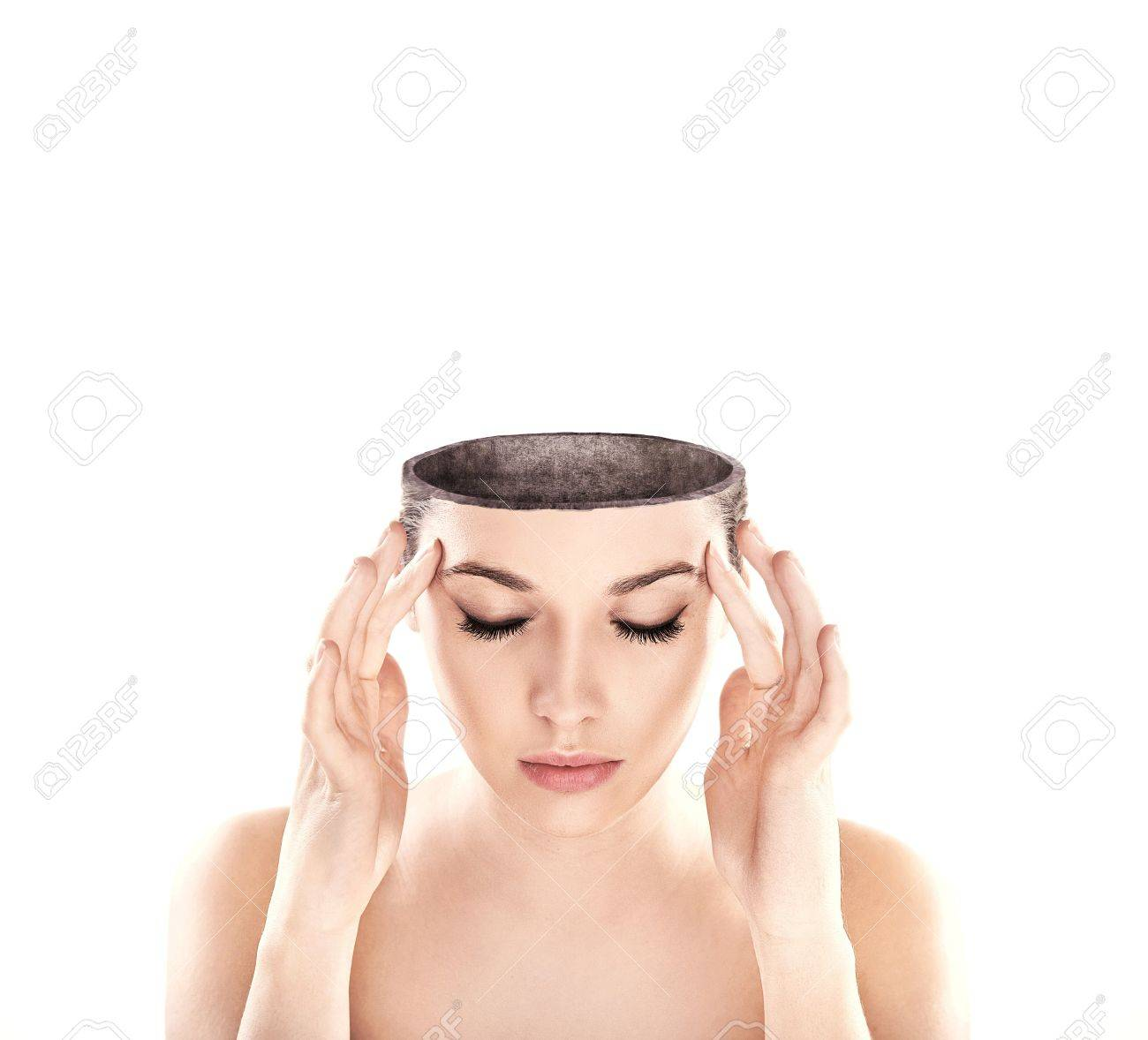 Conceptual image of a open minded woman , lots of copy space Stock Photo - 9234676