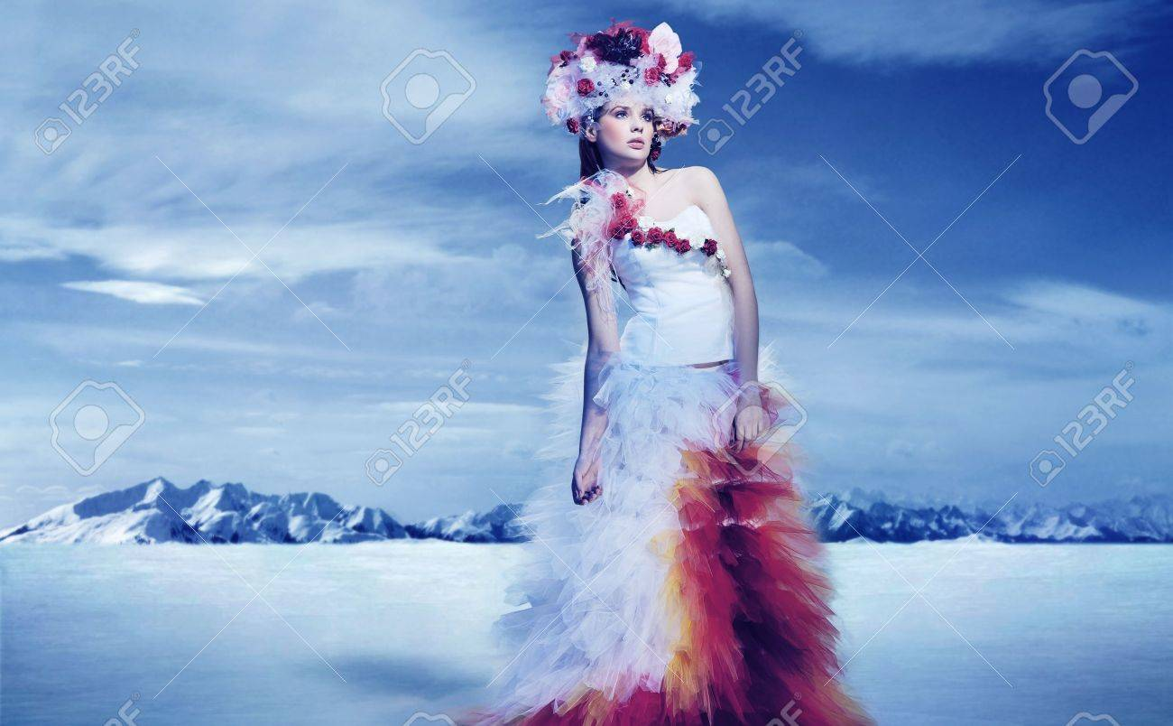 The bride in snow mountains Stock Photo - 9300321