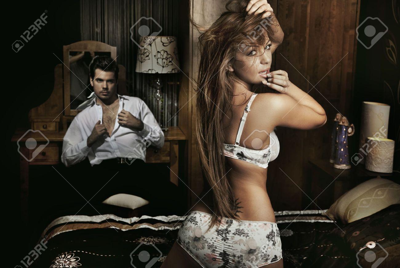Amazing sexy couple having fun in romantic room Stock Photo - 9337129
