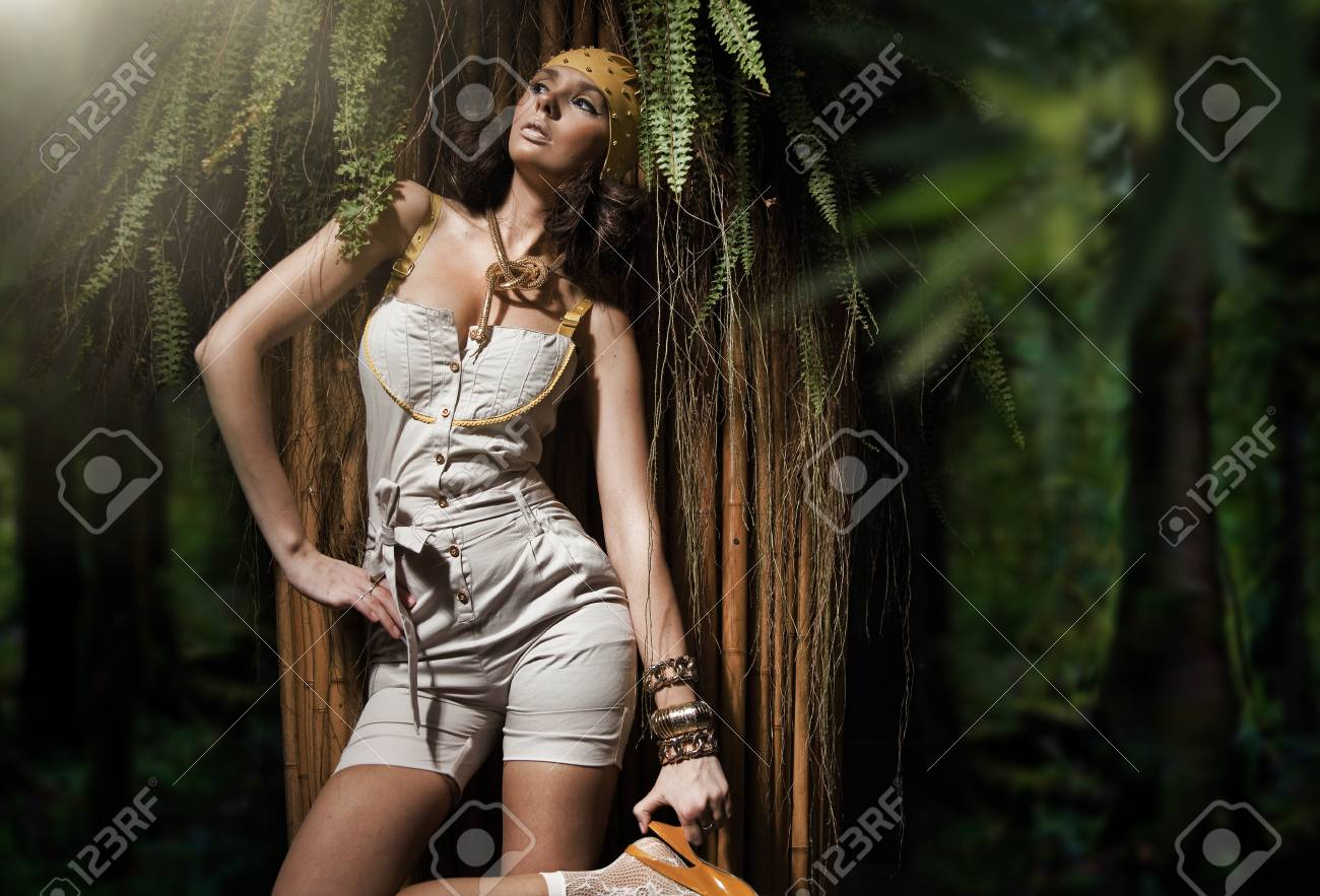 Beauty woman in the tropical forest Stock Photo - 9609922