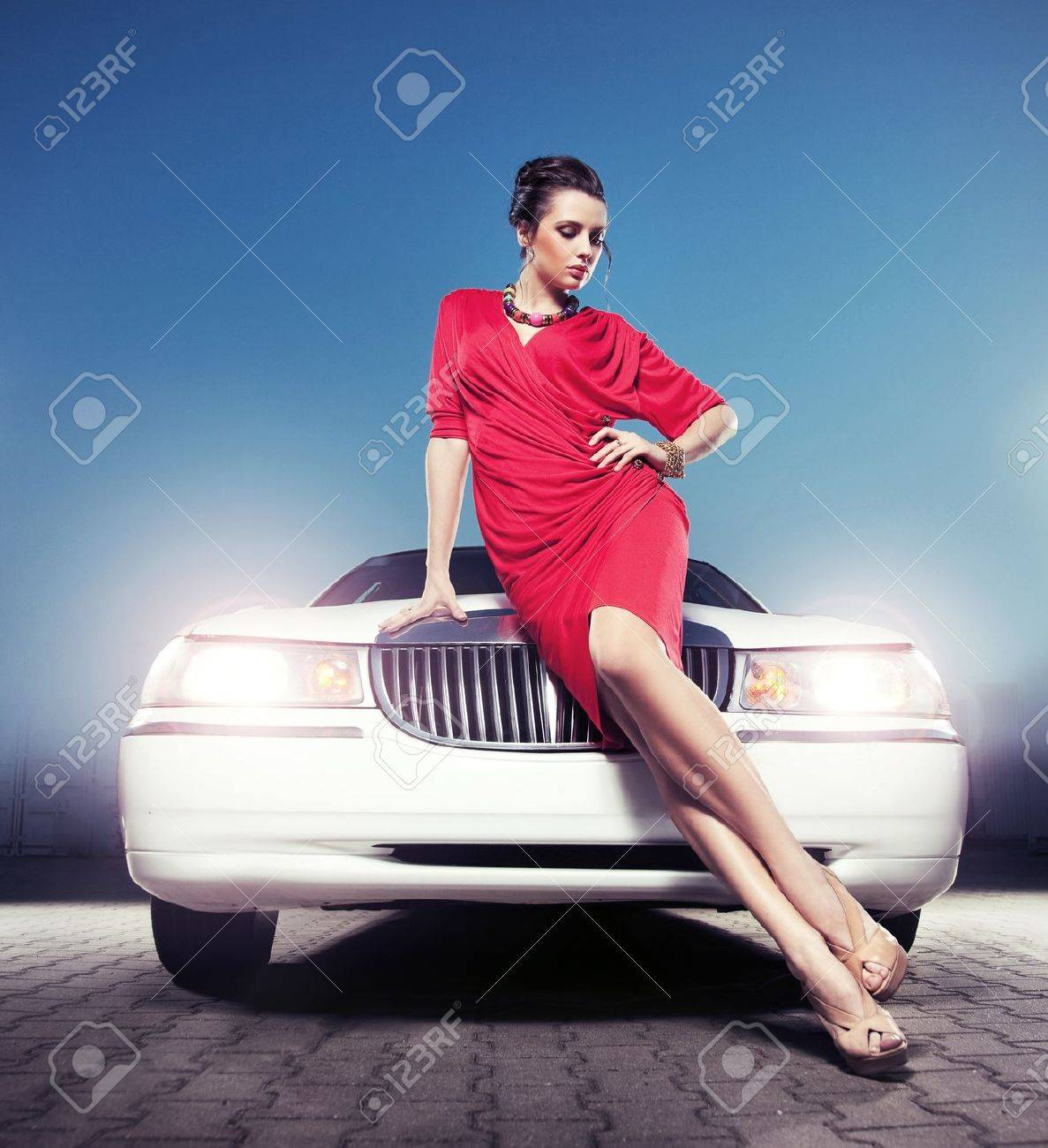 Sexy lady in front of a limousine Stock Photo - 9941738