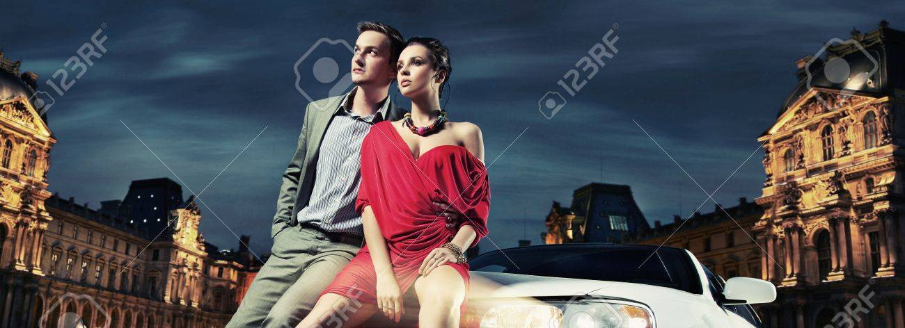 Colorful image of beautiful couple sitting in a limousine Stock Photo - 9941555