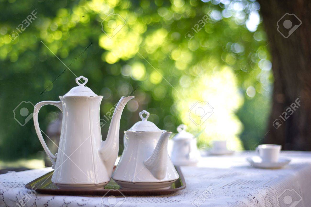 Coffee table in a garden Stock Photo - 9962871