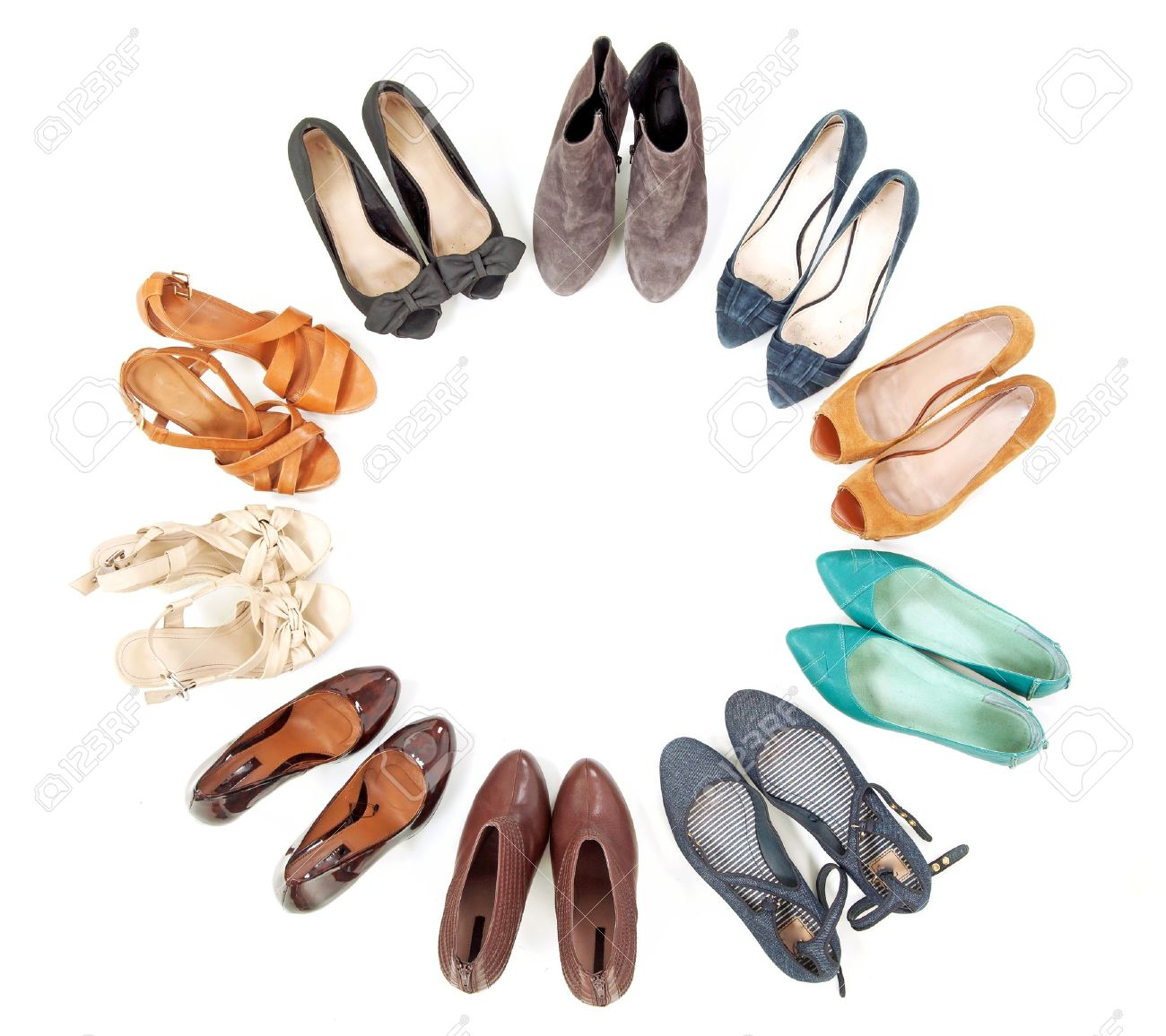 4e21714df941 Many pairs of shoes in circle Stock Photo - 10428238