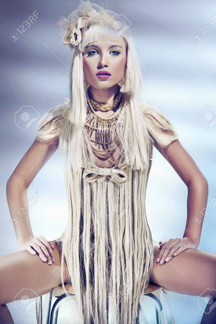 Blond beauty wearing dress made by hair Stock Photo - 12006967