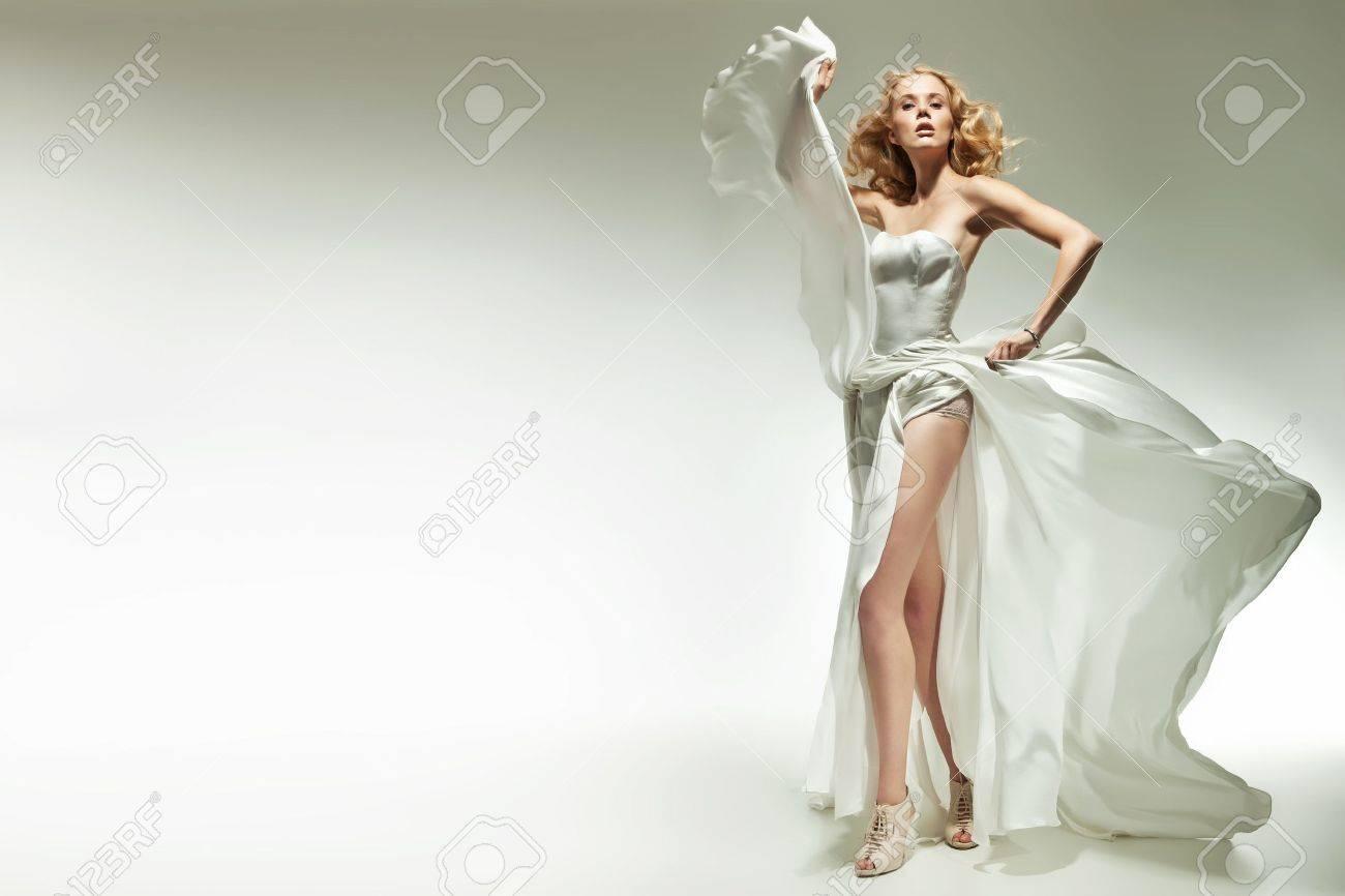 Blonde beauty posing on white background Stock Photo - 13705404