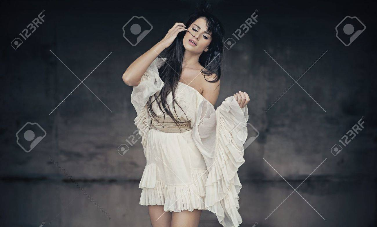 Romantic style photo of a beautiful brunette stock photo picture
