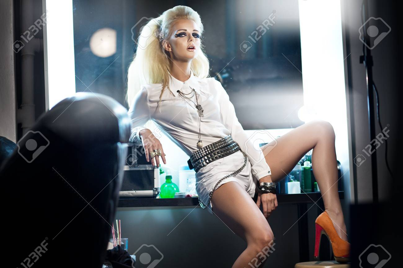 Picture presenting stylish blonde woman in studio Stock Photo - 16192556