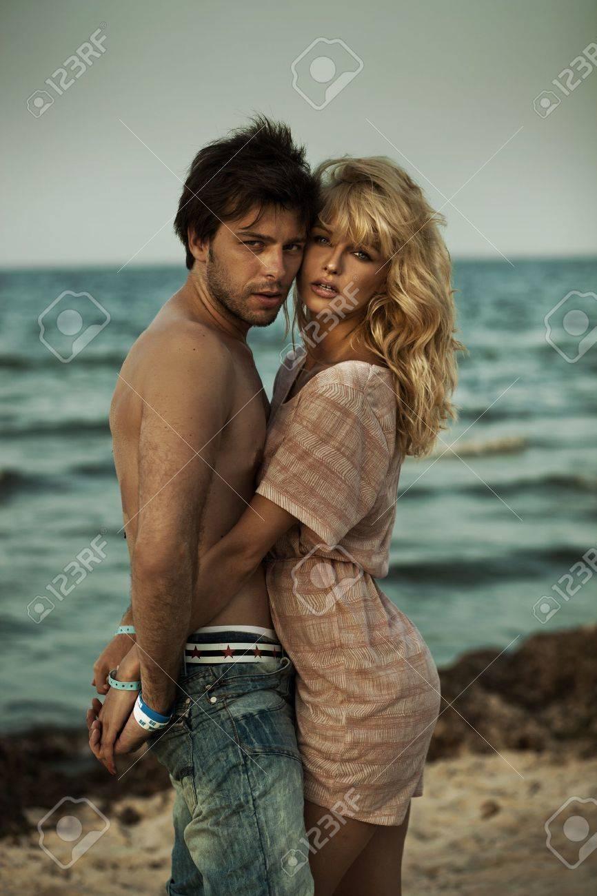 Attractive couple hugging in romantic scenery Stock Photo - 16119307