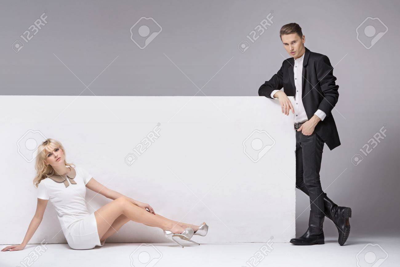 Handsome young man with his delicate girlfriend Stock Photo - 18393879
