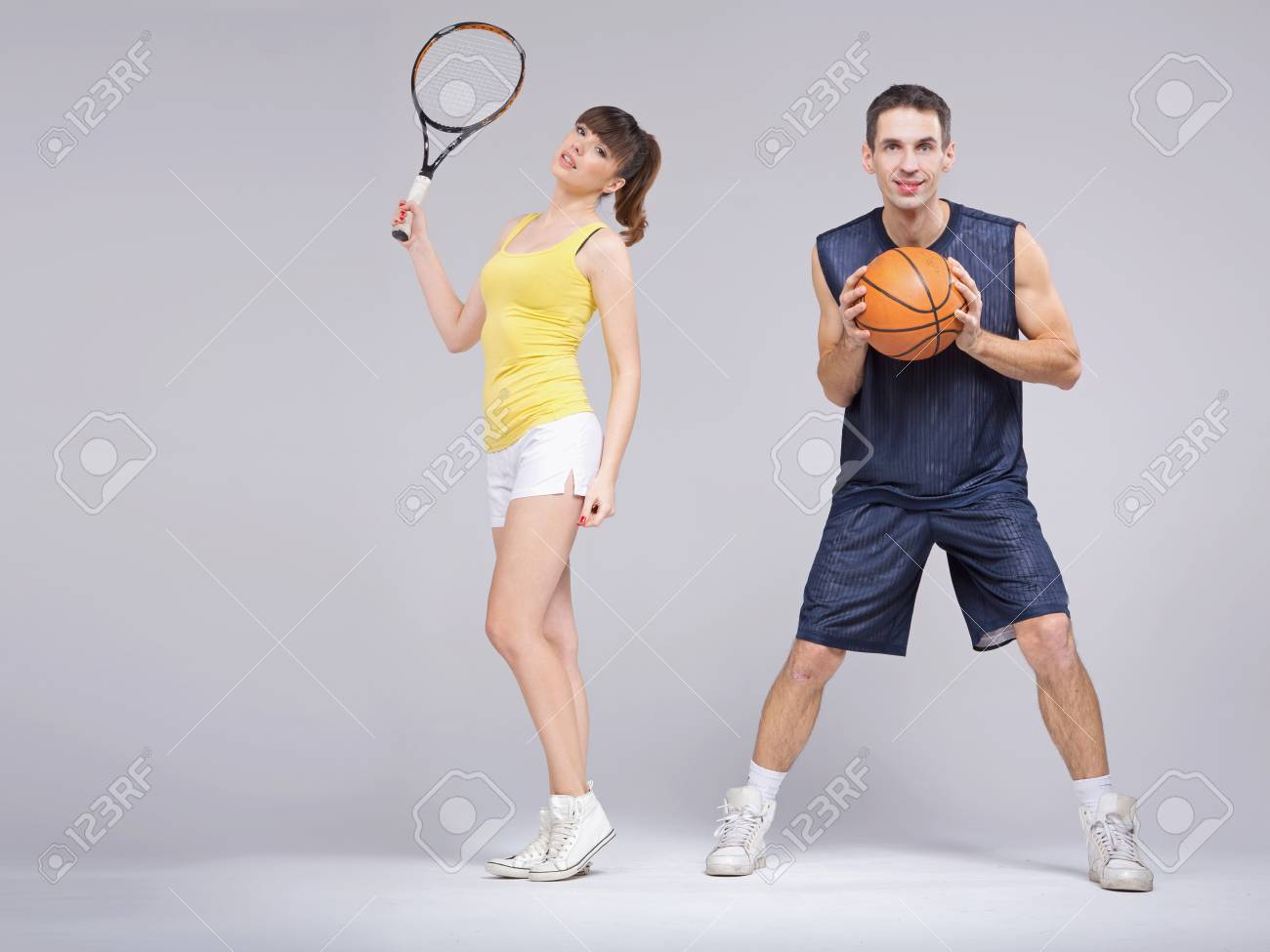 Athletic young couple during the training Stock Photo - 18418838
