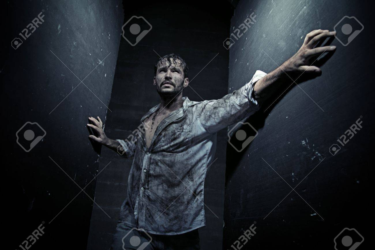 Dirty guy after dirty struggling Stock Photo - 19566423