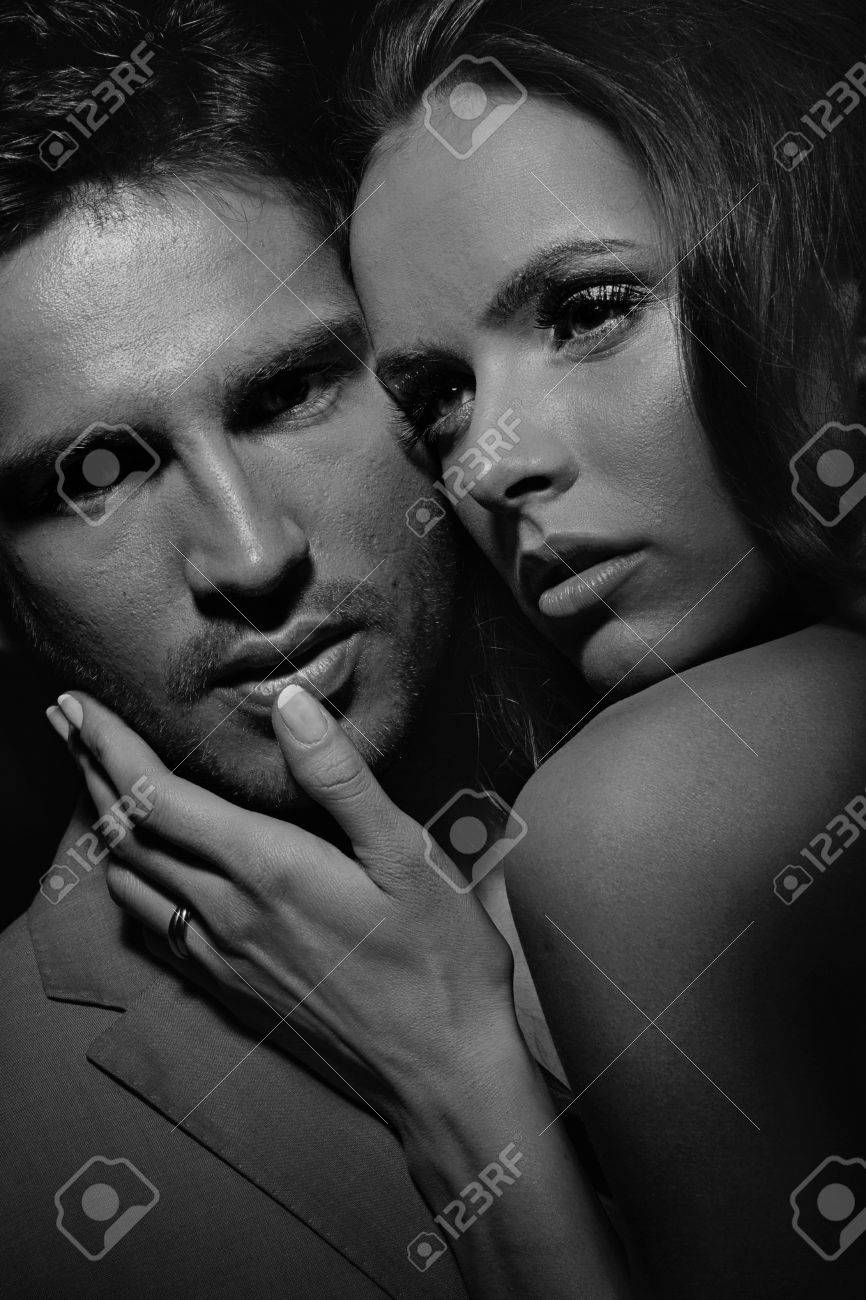 Black white portrait of sensual attractive couple