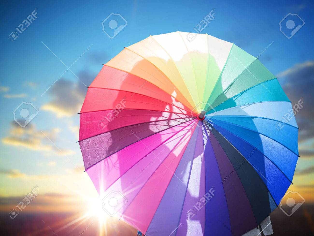 Romantic Couple Behind The Colorful Umbrella Stock Photo, Picture ... for Colorful Umbrella Photography  183qdu
