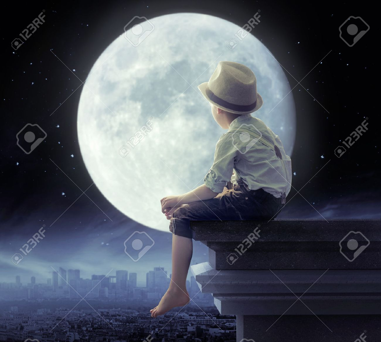 Kids at night with moon royalty free stock photography image - Little Boy Looking A The City In The Night Stock Photo 42115024